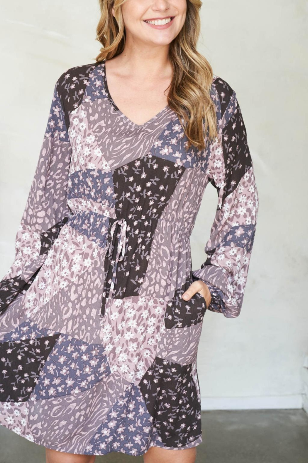 Riah Fashion Floral-Geometric-Tile-Puff-Sleeve-Dress - Front Full Image
