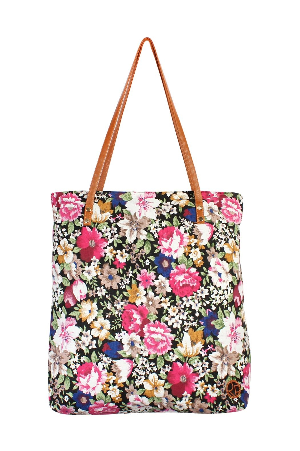Riah Fashion Floral Inclined Tote-Bag - Main Image