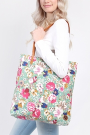 Riah Fashion Floral Inclined Tote-Bag - Front full body