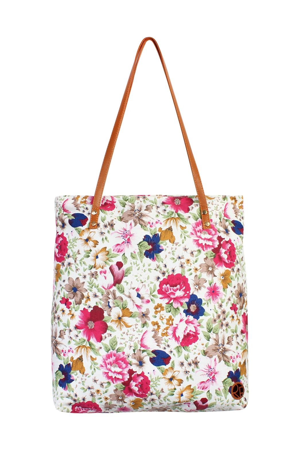 Riah Fashion Floral Inclined Tote-Bag - Front Cropped Image