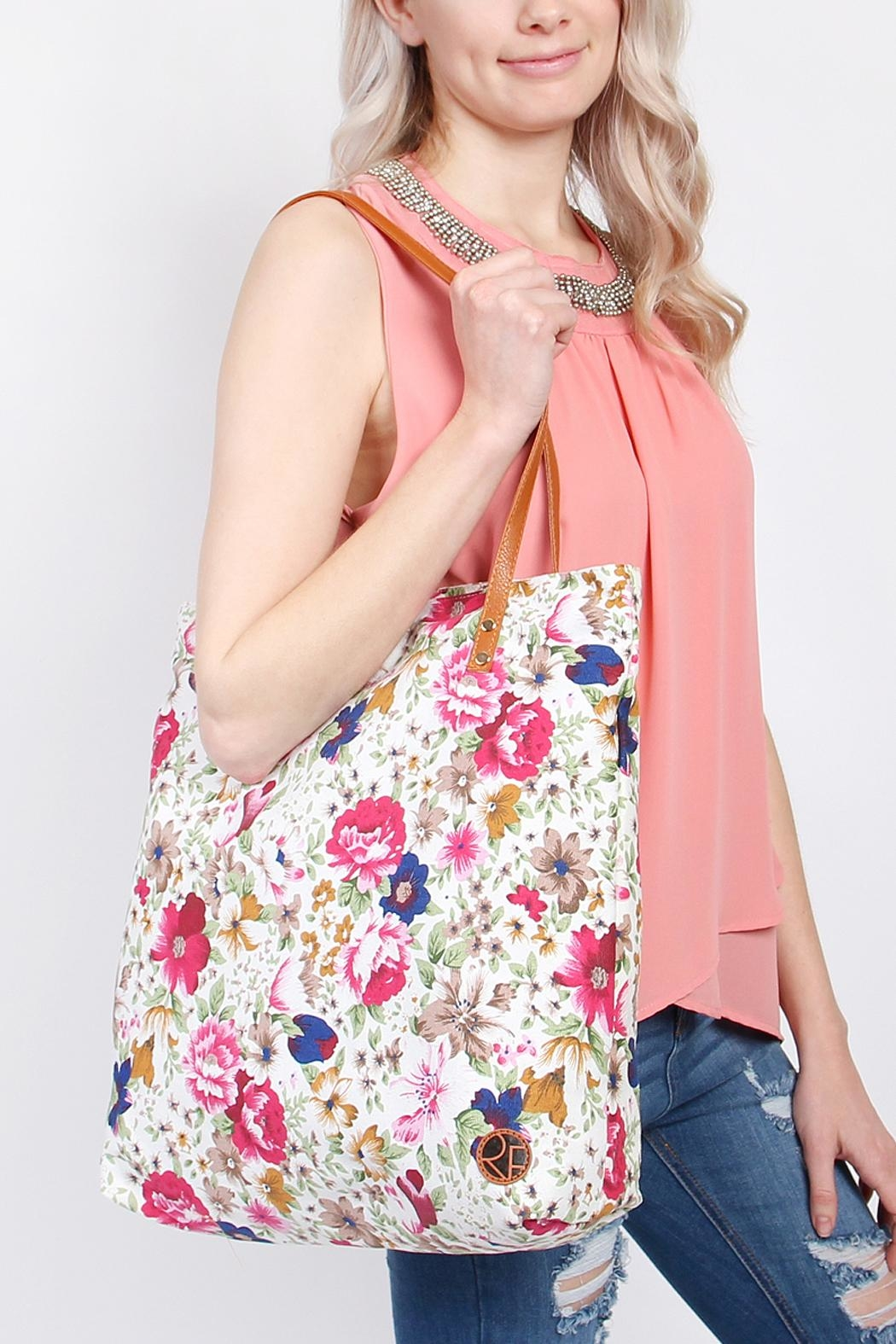 Riah Fashion Floral Inclined Tote-Bag - Front Full Image