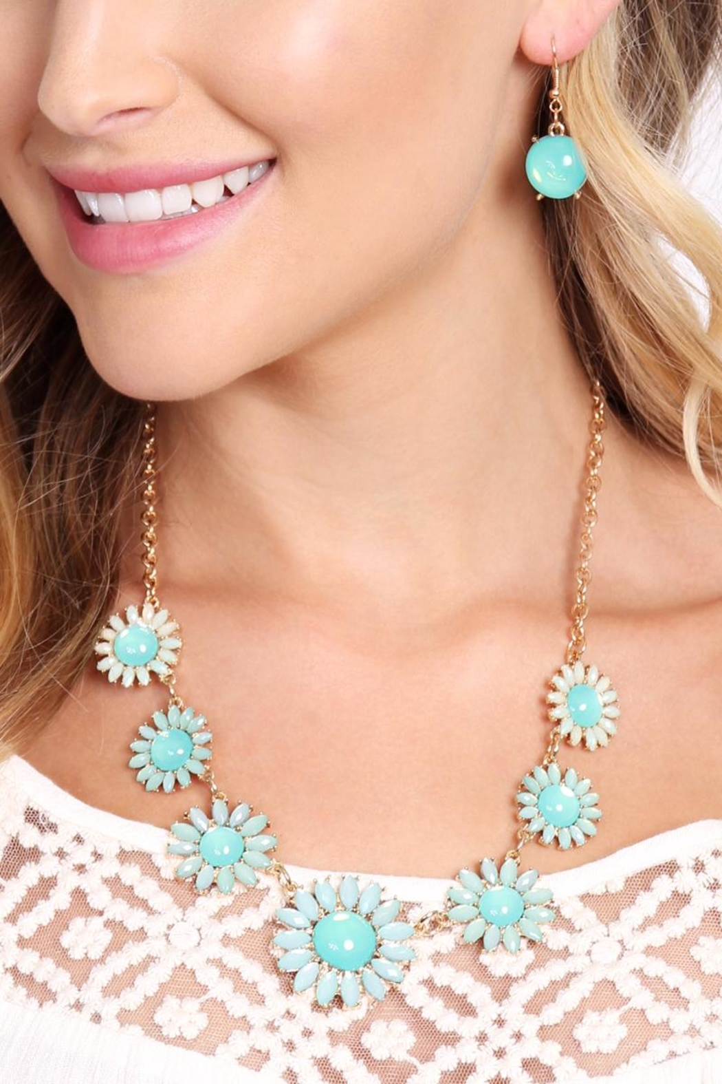 Riah Fashion Floral Necklace & Drop Earrings - Front Full Image