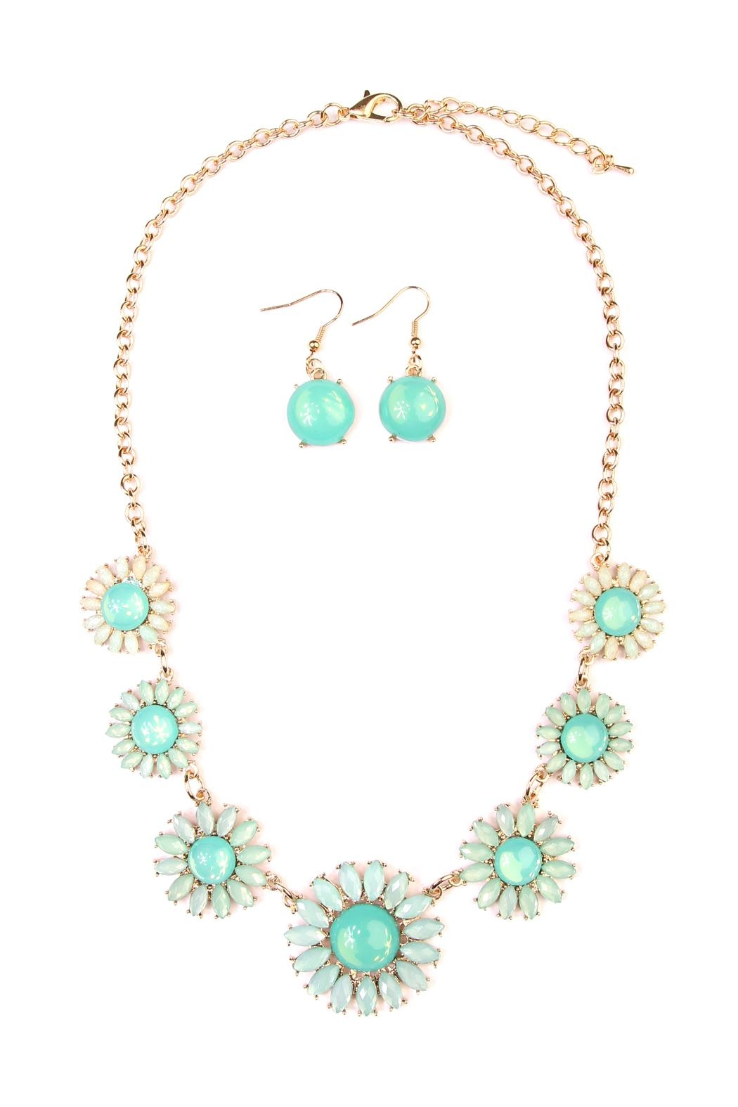 Riah Fashion Floral Necklace & Drop Earrings - Main Image