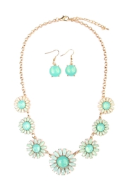 Riah Fashion Floral Necklace & Drop Earrings - Product Mini Image