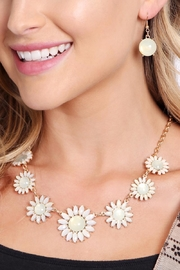 Riah Fashion Floral Necklace & Drop Earrings - Front full body