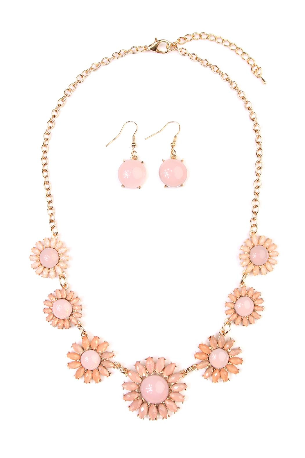 Riah Fashion Floral Necklace And Drop Earrings - Main Image
