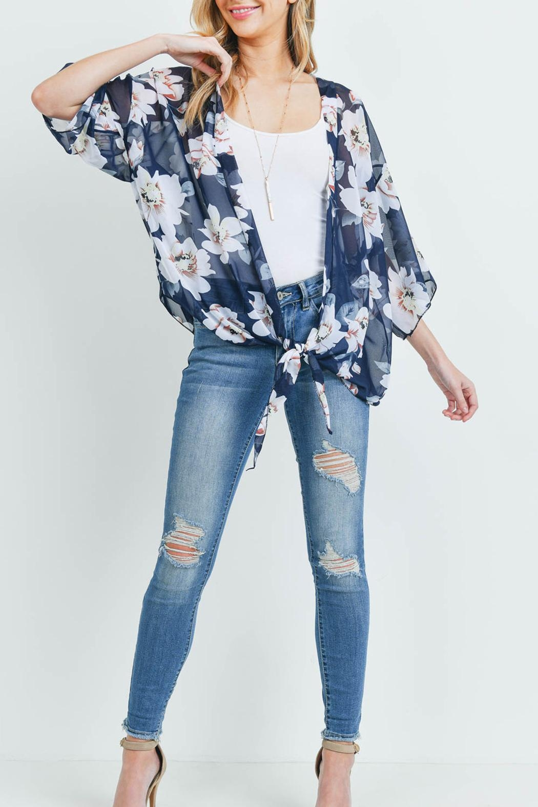 Riah Fashion Floral Open-Front Light Kimono - Side Cropped Image