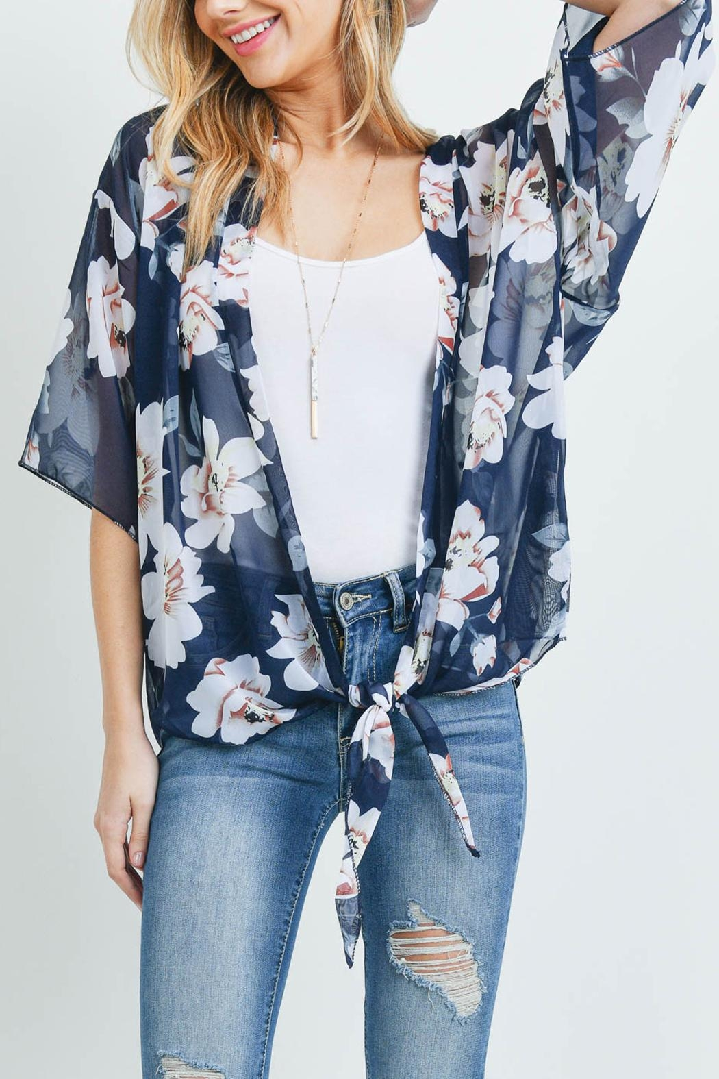 Riah Fashion Floral Open-Front Light Kimono - Front Cropped Image