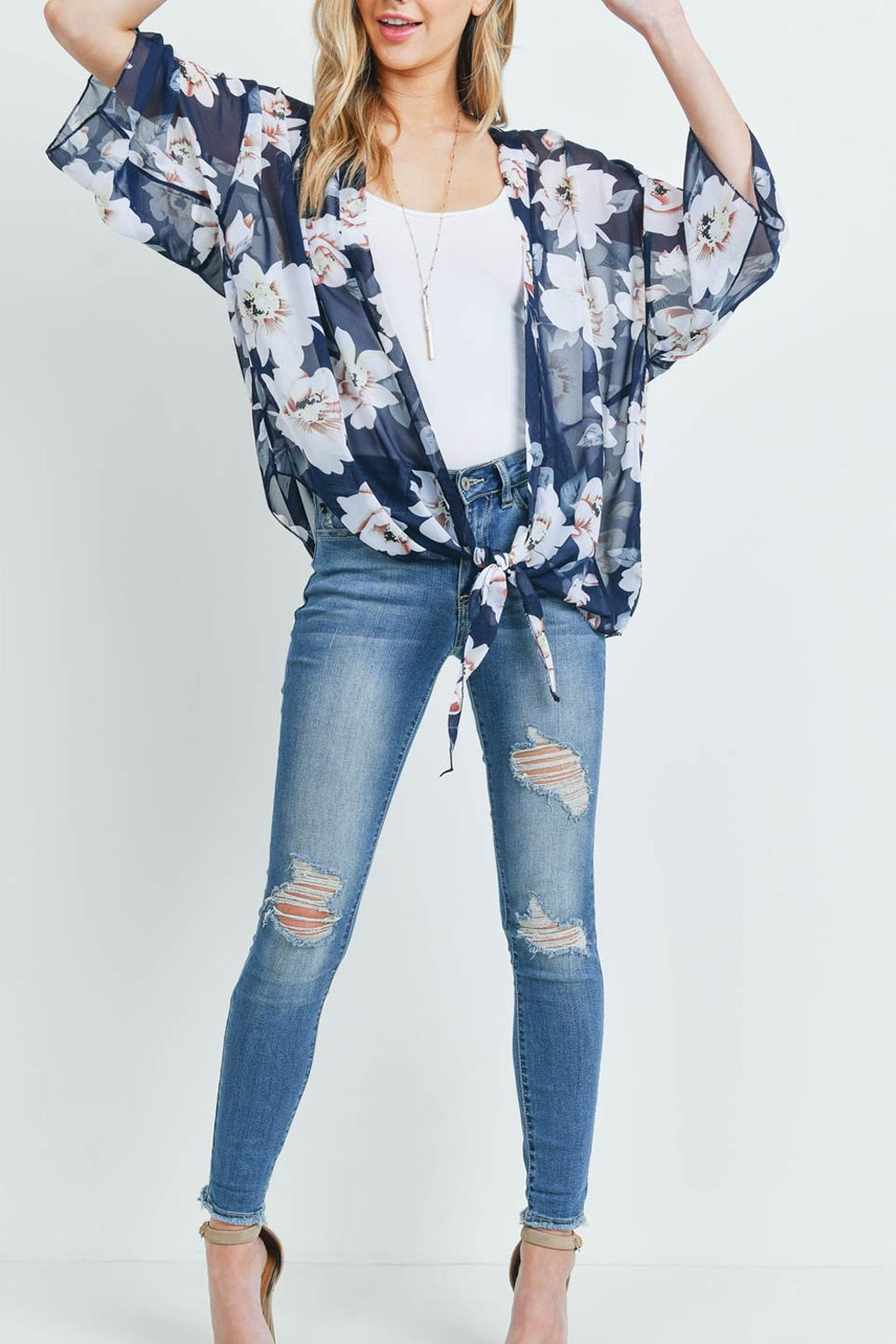 Riah Fashion Floral Open-Front Light Kimono - Back Cropped Image