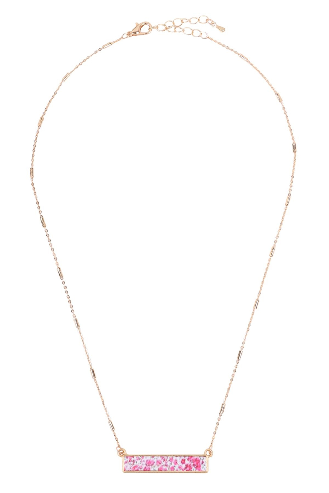 Riah Fashion Floral Pendant Necklace - Side Cropped Image
