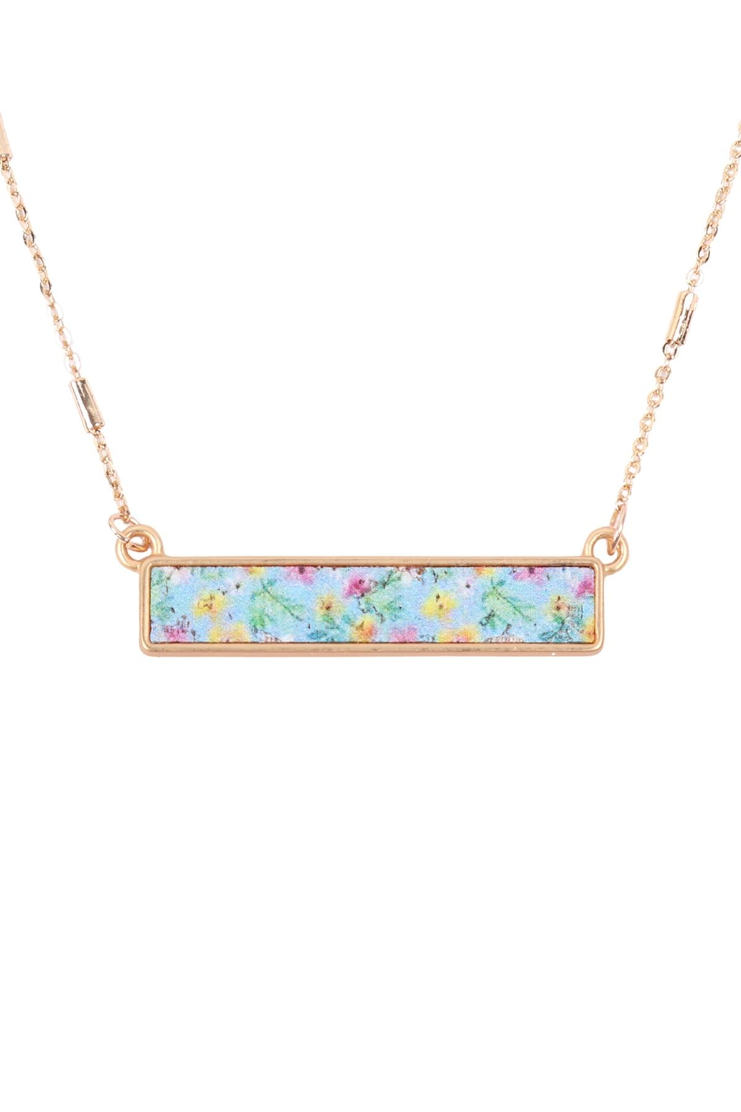 Riah Fashion Floral Pendant Necklace - Front Cropped Image