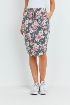 Riah Fashion Floral-Print-Front-Tie-Pencil-Skirt - Product List Image