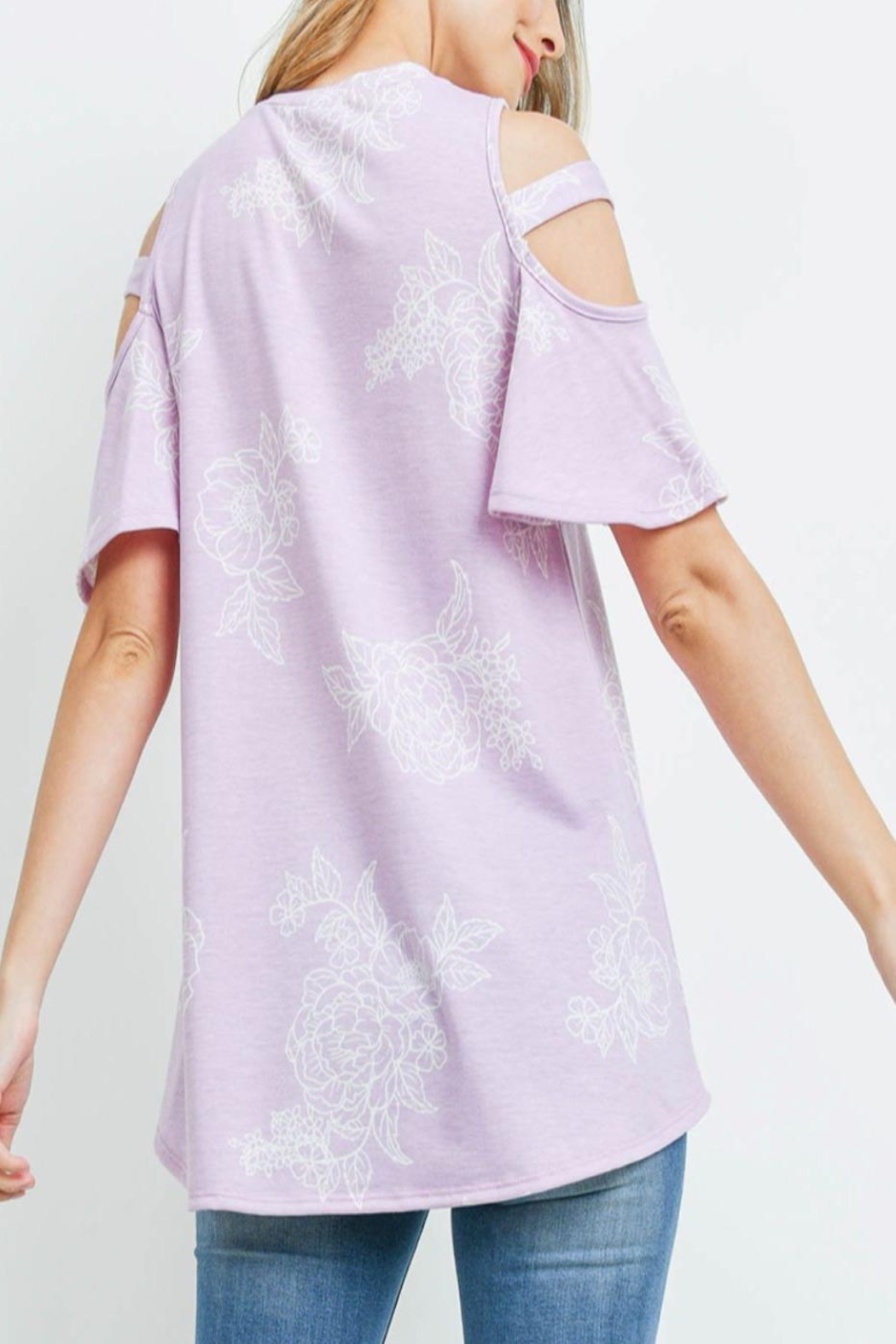 Riah Fashion Floral-Print-Off-Shoulder-Round-Neck-Top - Front Full Image