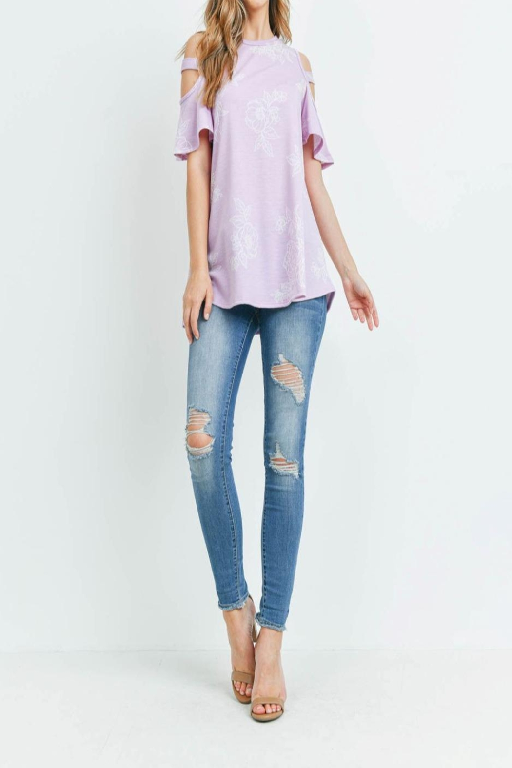 Riah Fashion Floral-Print-Off-Shoulder-Round-Neck-Top - Side Cropped Image