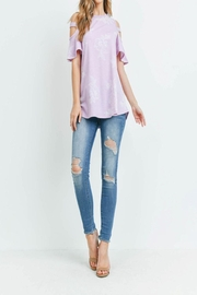 Riah Fashion Floral-Print-Off-Shoulder-Round-Neck-Top - Side cropped