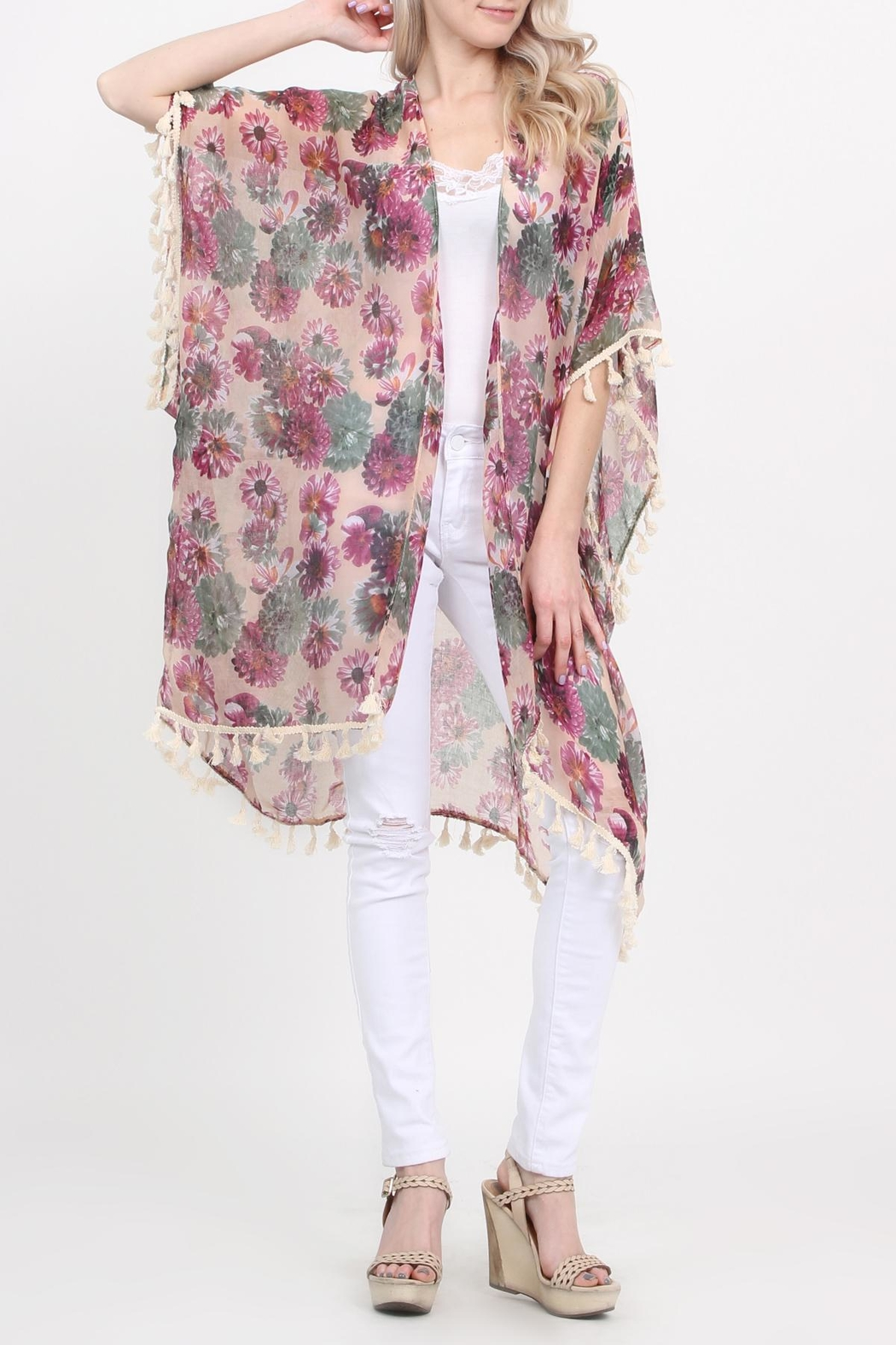 Riah Fashion Floral-Print Semi-Sheer Tassel-Cardigan - Front Full Image