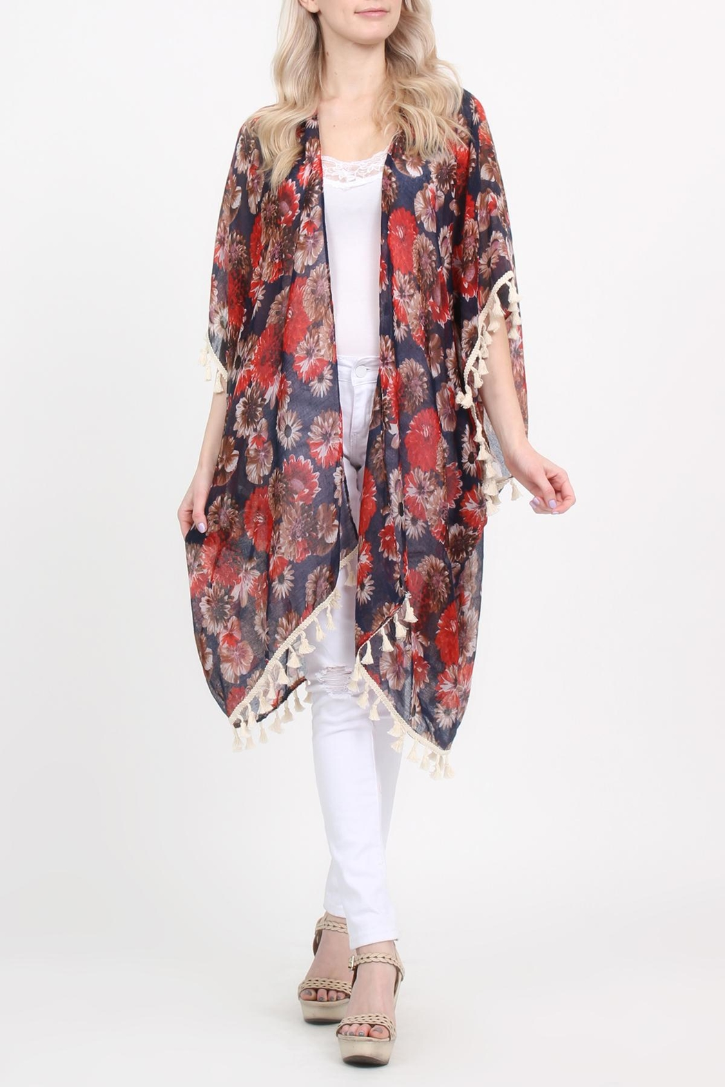 Riah Fashion Floral-Print Semi-Sheer Tassel-Cardigan - Side Cropped Image