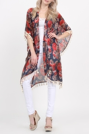 Riah Fashion Floral-Print Semi-Sheer Tassel-Cardigan - Front full body
