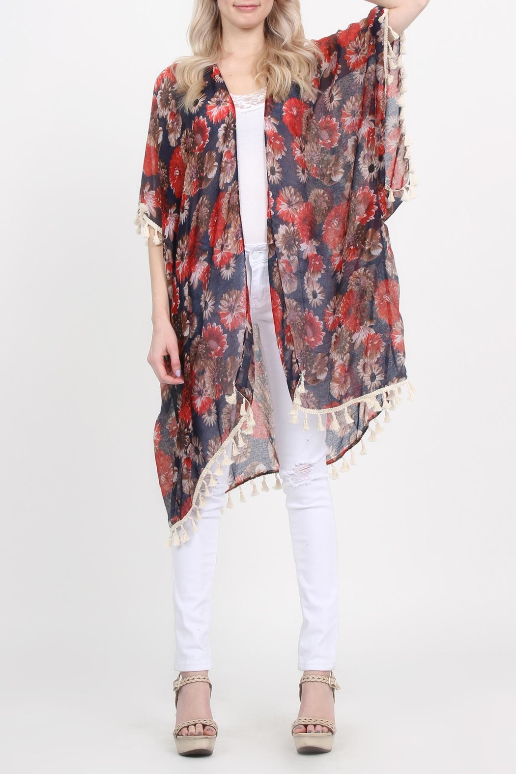 Riah Fashion Floral-Print Semi-Sheer Tassel-Cardigan - Front Cropped Image