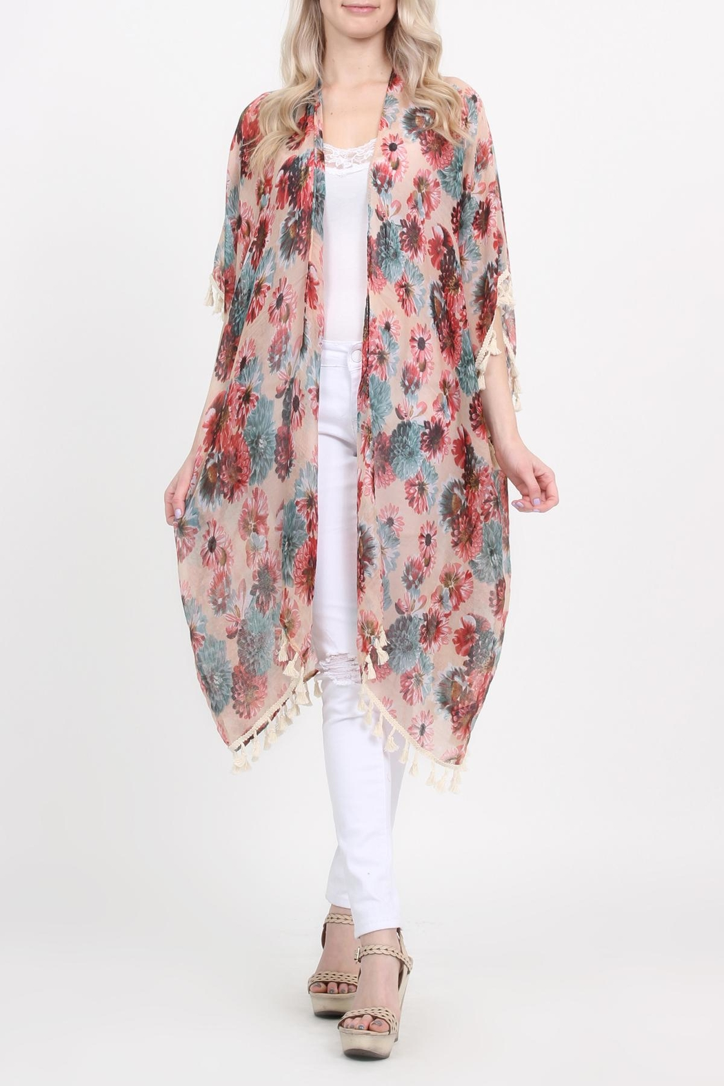 Riah Fashion Floral-Print Semi-Sheer Tassel-Cardigan - Main Image