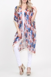 Riah Fashion Floral-Print Semi-Sheer Tassel-Cardigan - Front cropped
