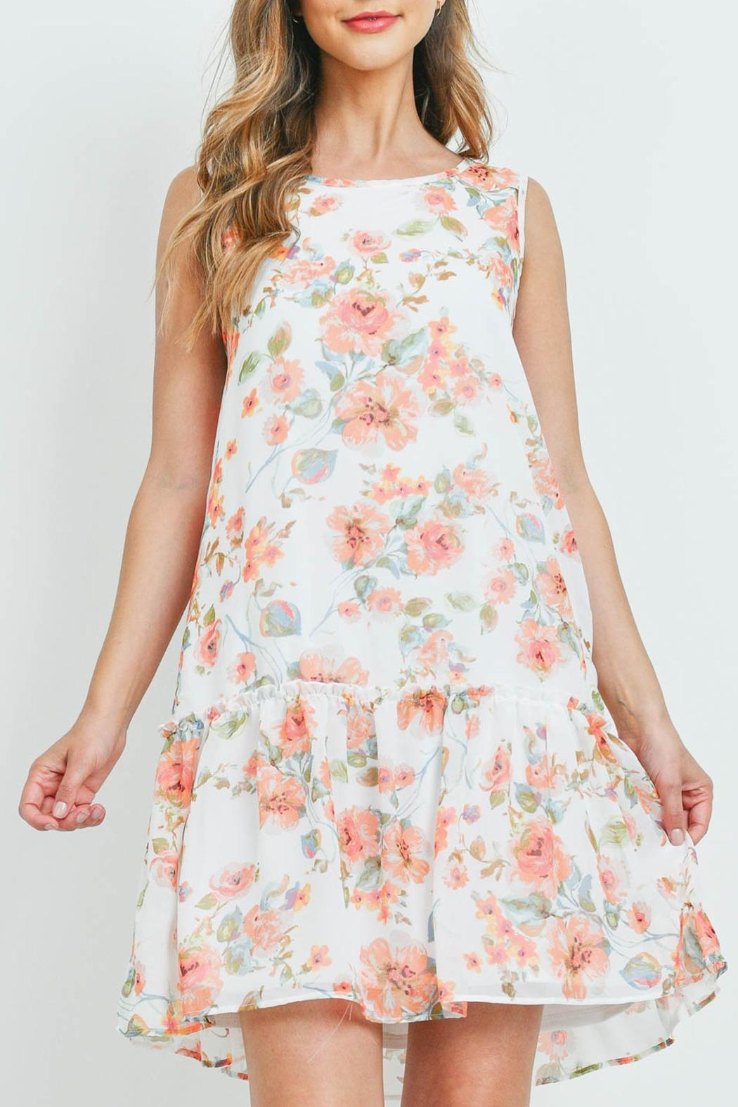 Riah Fashion Floral-Print-Sleeveless-Ruffle-Hem-Dress-With-Inside Lining - Front Cropped Image