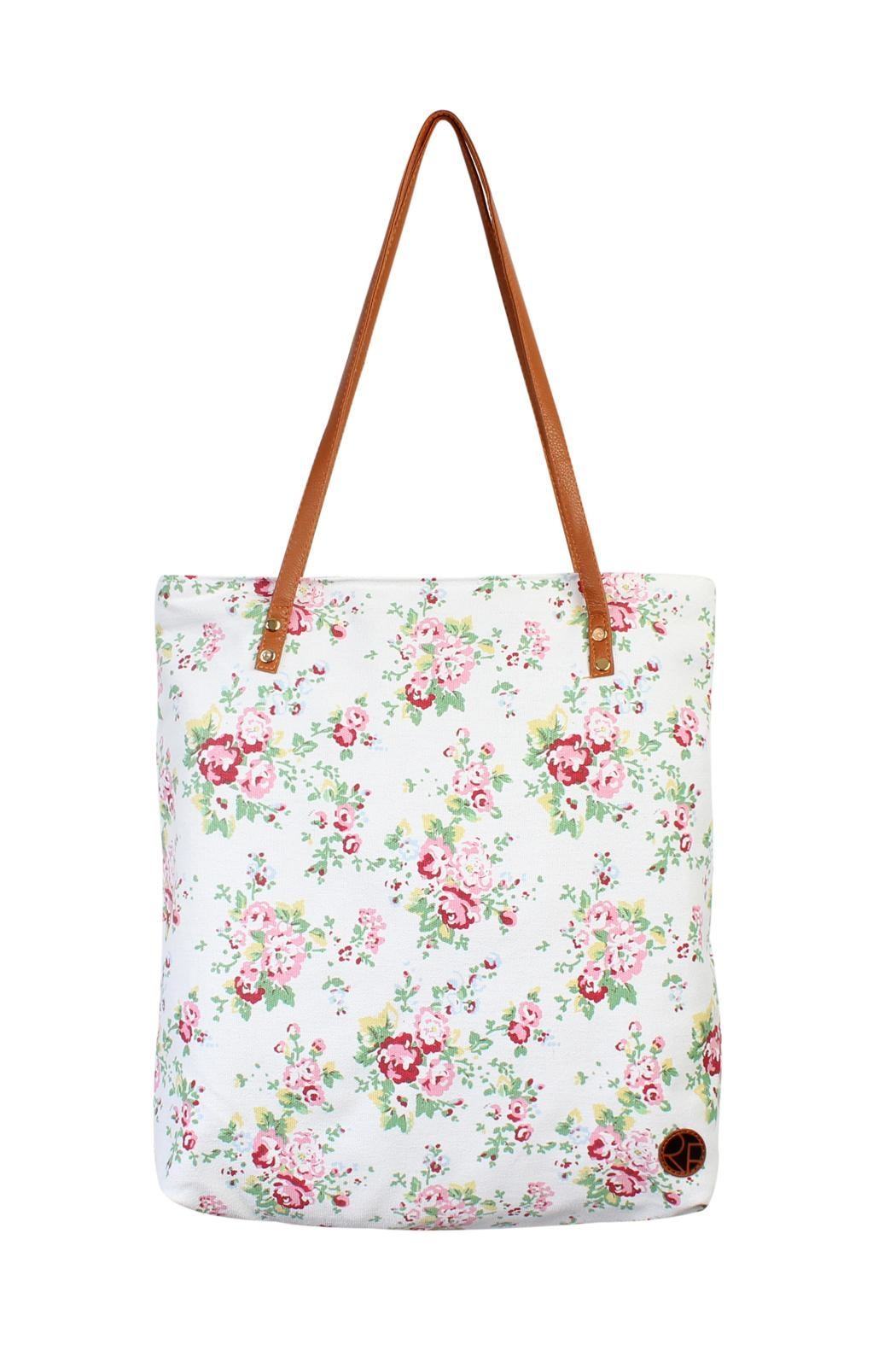 Riah Fashion Floral Print Tote-Bag - Front Cropped Image