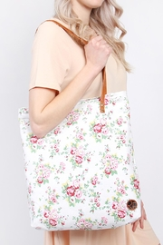 Riah Fashion Floral Print Tote-Bag - Front full body
