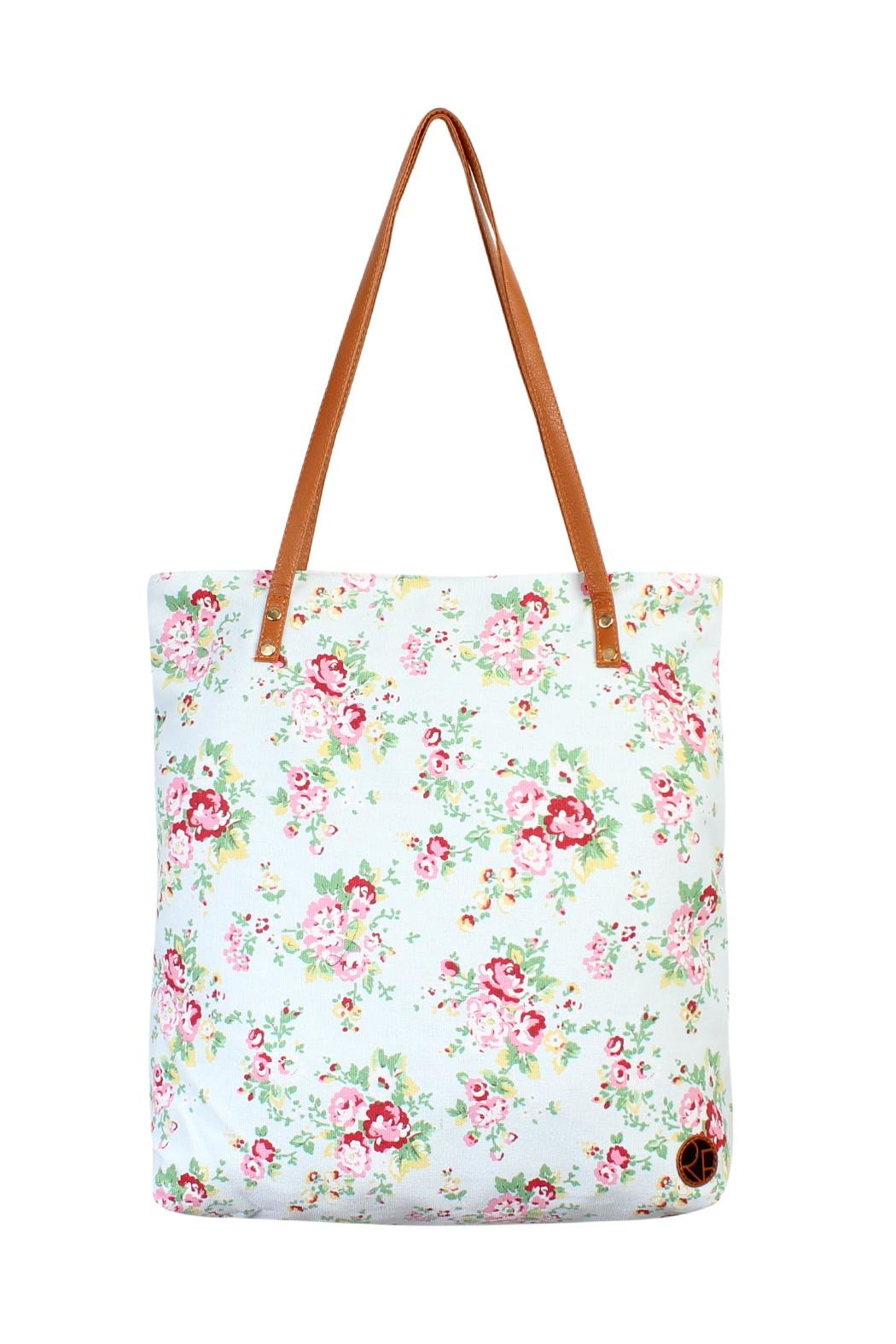 Riah Fashion Floral Print Tote Bag-Light Blue - Main Image
