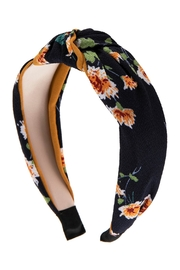 Riah Fashion Floral Printed-Knotted-Fabric-Headband - Front full body