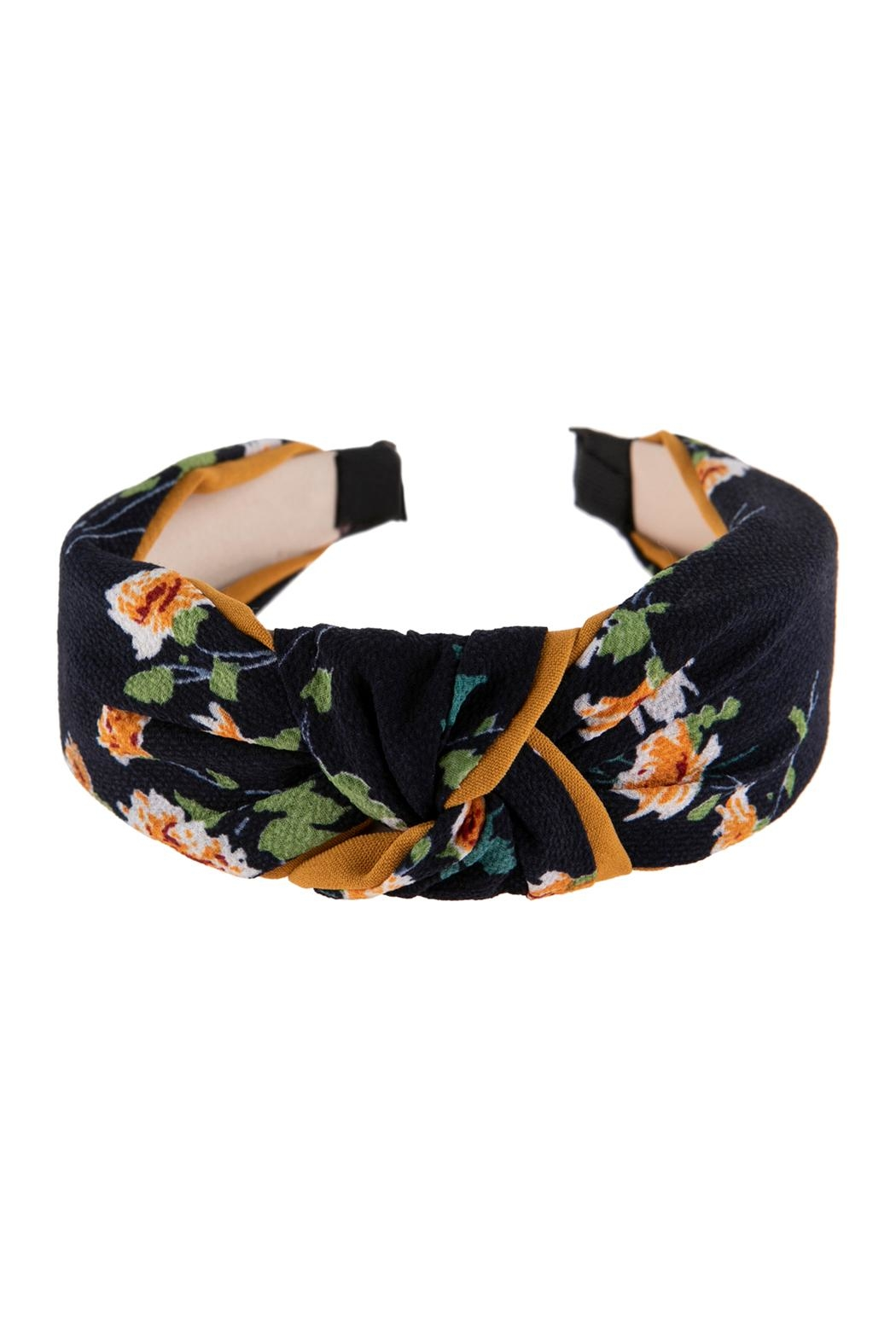 Riah Fashion Floral Printed-Knotted-Fabric-Headband - Front Cropped Image