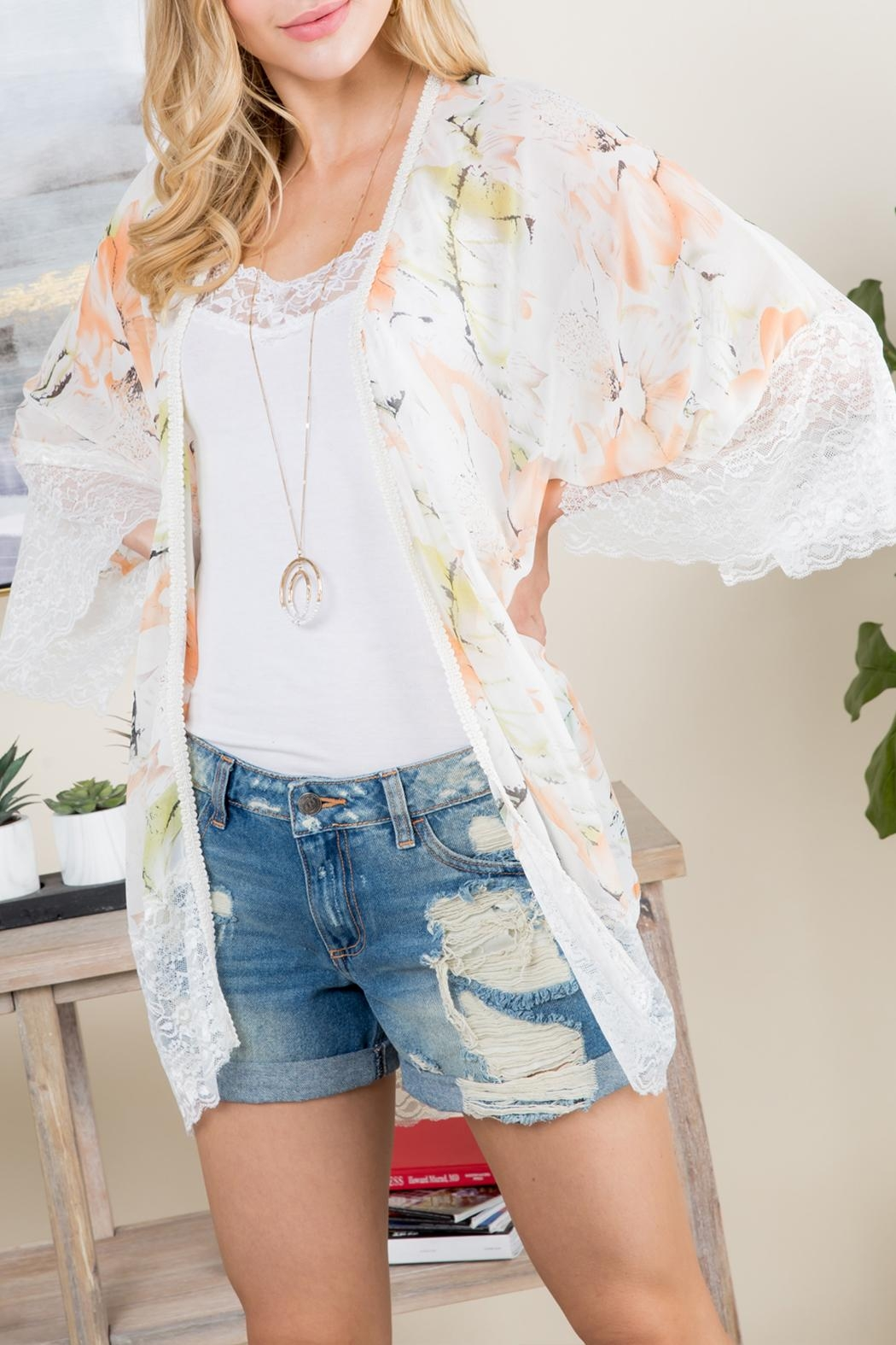 Riah Fashion Floral Printed Lace Kimono - Front Cropped Image