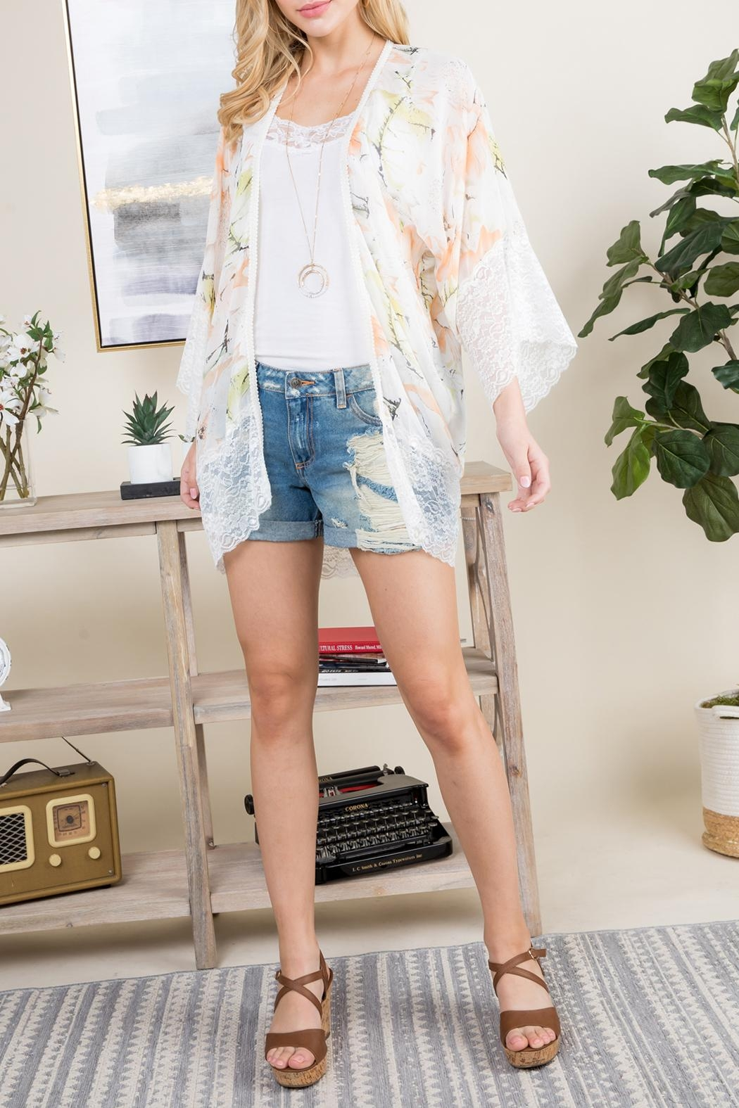 Riah Fashion Floral Printed Lace Kimono - Front Full Image