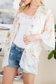 Riah Fashion Floral Printed Lace Kimono - Side cropped