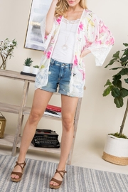 Riah Fashion Floral-Printed Lace Kimono - Front full body