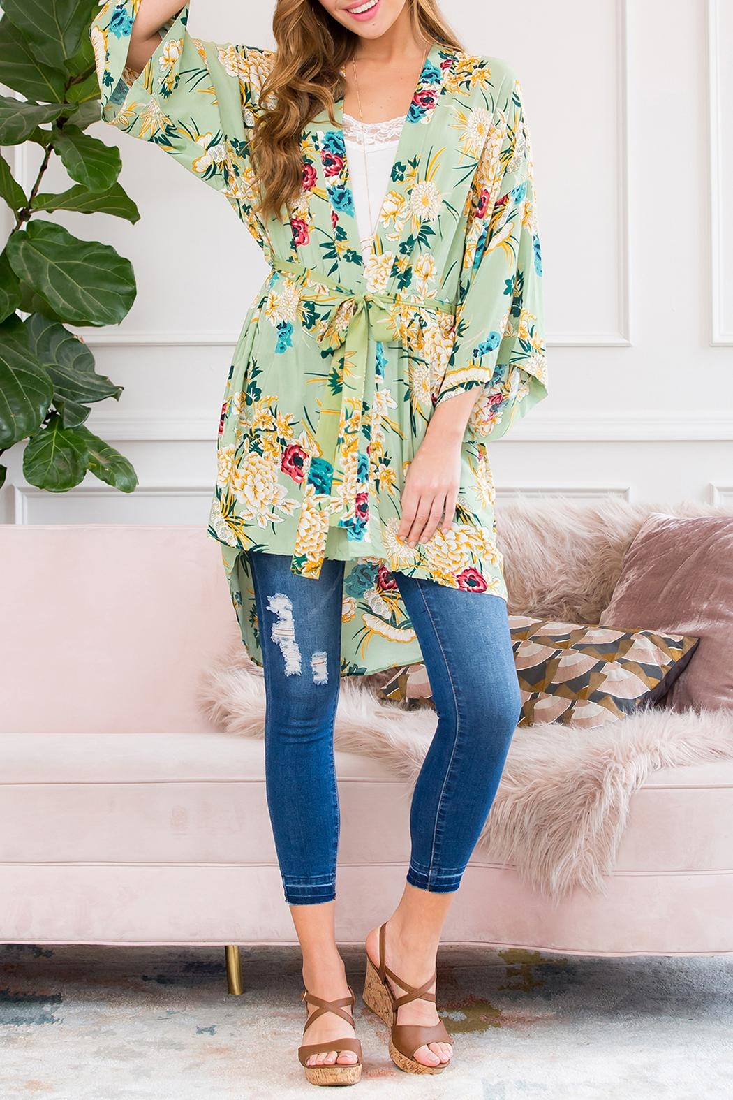 Riah Fashion Floral Robe Kimono Style 1 - Side Cropped Image