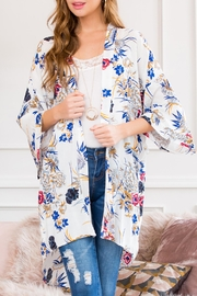 Riah Fashion Floral Robe Kimono Style 1 - Front full body