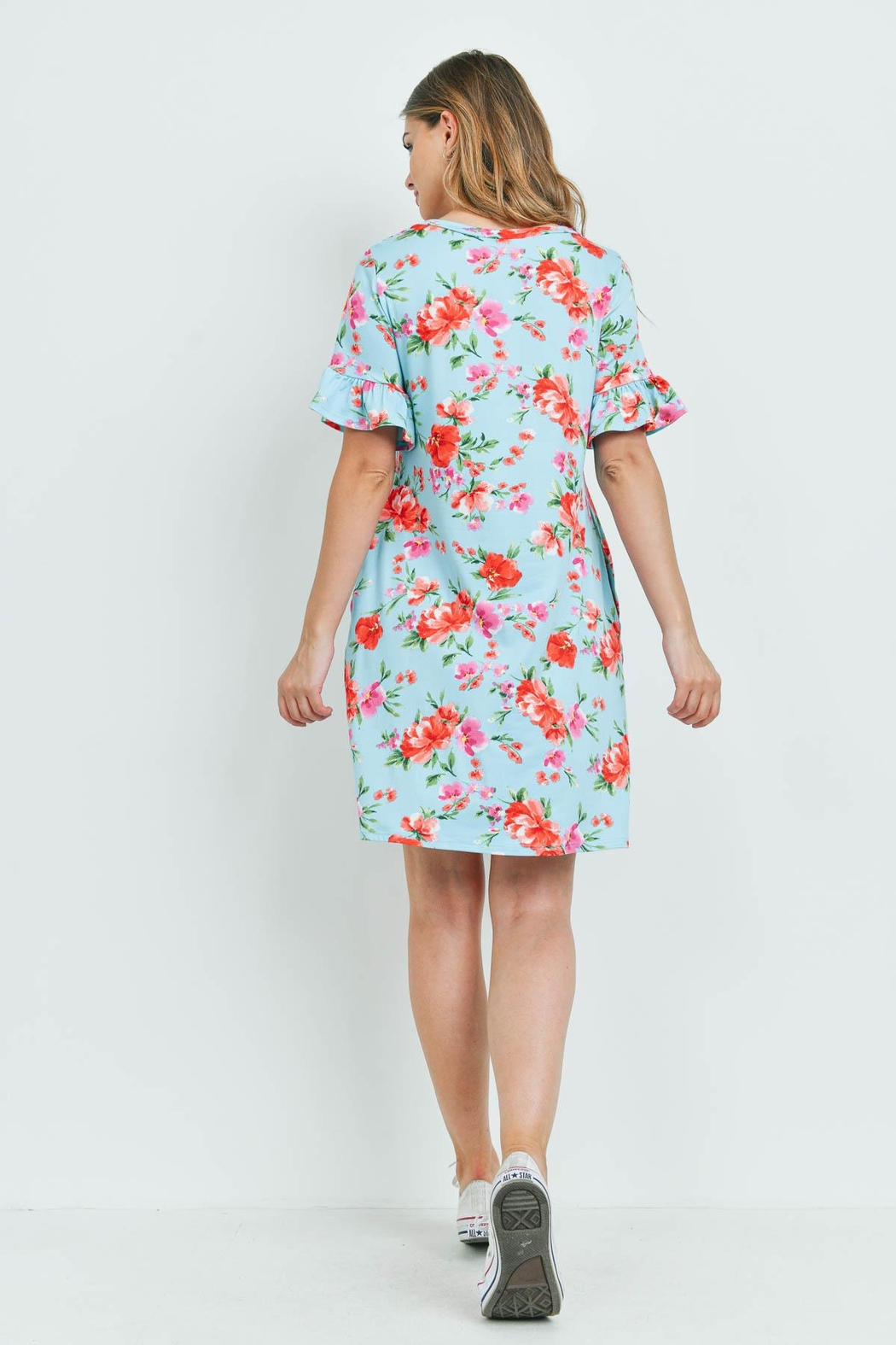 Riah Fashion Floral-Ruffle-Sleeves-Swing-Dress - Front Full Image