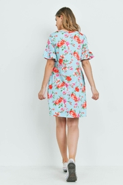 Riah Fashion Floral-Ruffle-Sleeves-Swing-Dress - Front full body