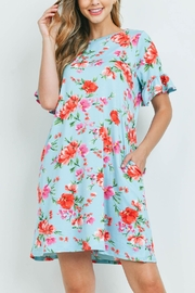 Riah Fashion Floral-Ruffle-Sleeves-Swing-Dress - Front cropped