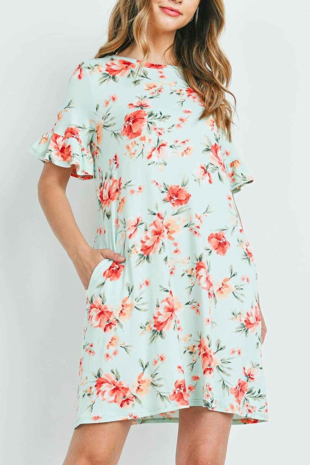 Riah Fashion Floral-Ruffle-Sleeves-Swing-Dress - Side Cropped Image