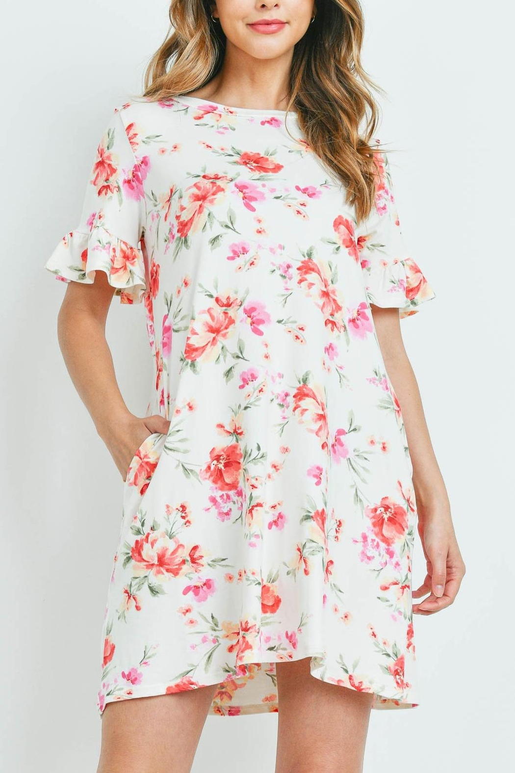 Riah Fashion Floral-Ruffle-Sleeves-Swing-Dress - Front Cropped Image
