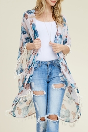 Riah Fashion Floral Sheer Cardigan - Product Mini Image