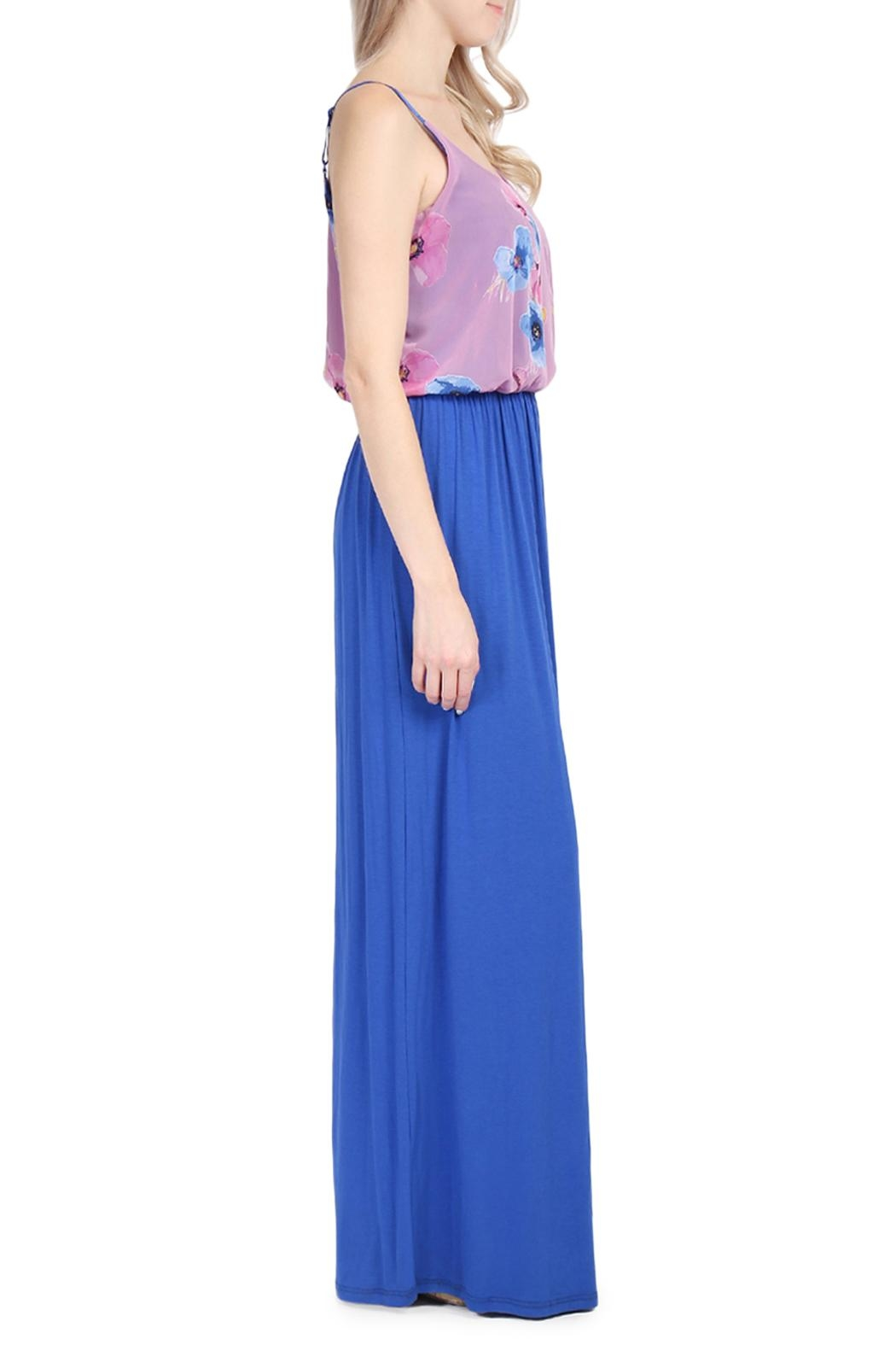 Riah Fashion Floral Sleeveless Maxi Dress - Side Cropped Image