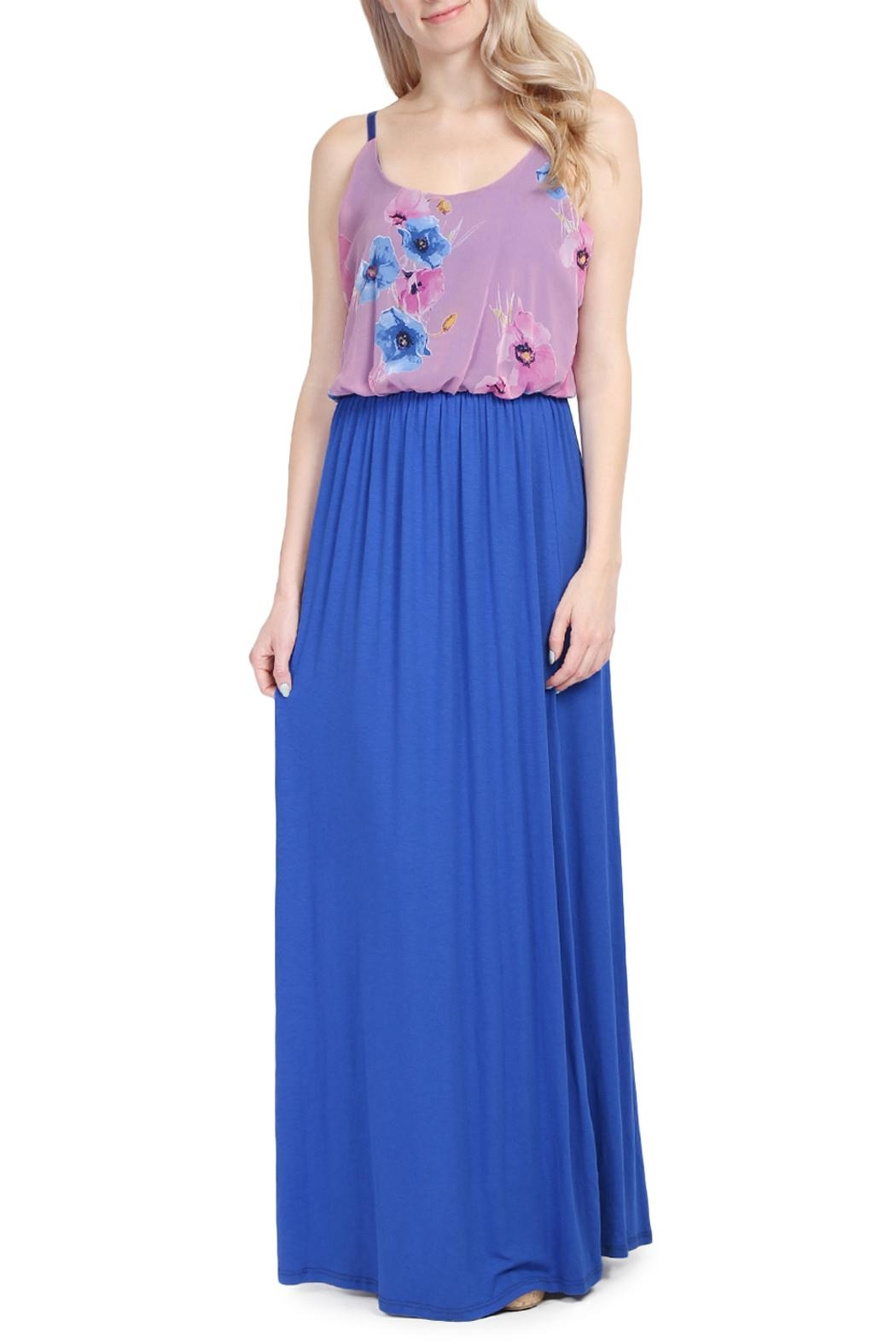 Riah Fashion Floral Sleeveless Maxi Dress - Main Image