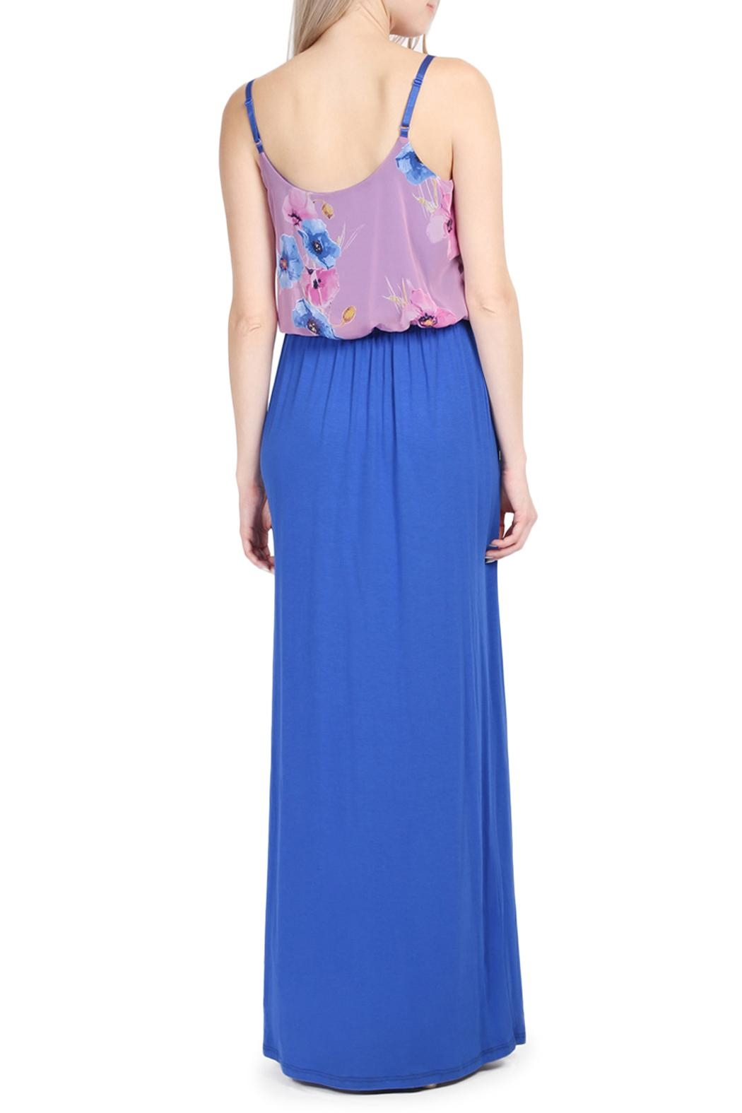 Riah Fashion Floral Sleeveless Maxi Dress - Front Full Image