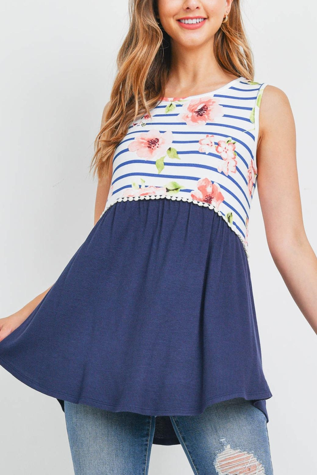 Riah Fashion Floral-Stripes-Contrast-Pompom-Detail-Top - Front Cropped Image