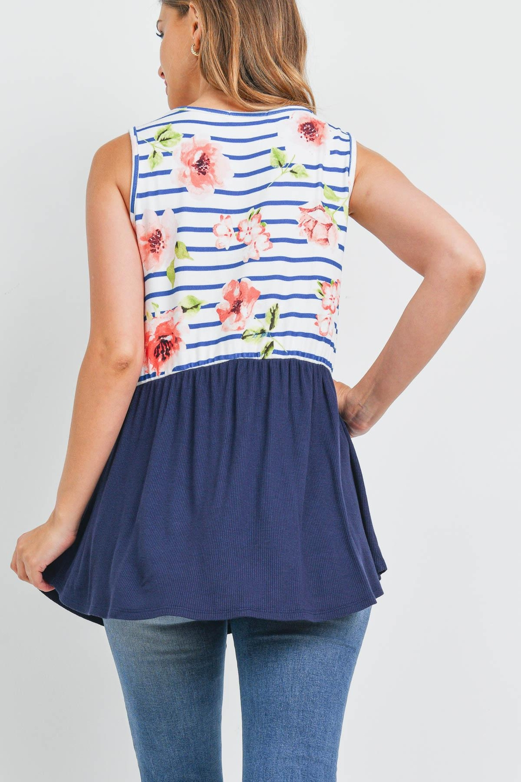 Riah Fashion Floral-Stripes-Contrast-Pompom-Detail-Top - Front Full Image