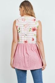 Riah Fashion Floral-Stripes-Contrast-Pompom-Detail-Top - Front full body
