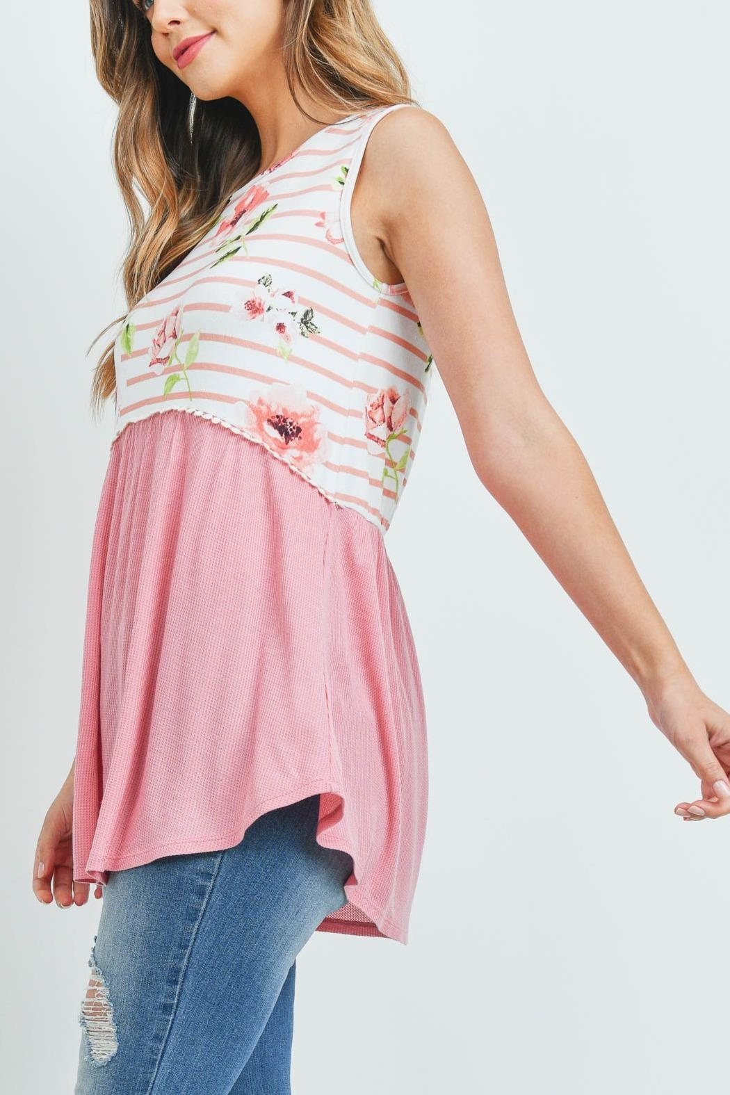 Riah Fashion Floral-Stripes-Contrast-Pompom-Detail-Top - Side Cropped Image